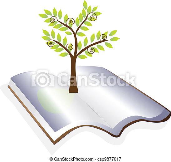 fa, vektor, nyitott könyv, jel - csp9877017