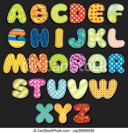 Fabric Alphabet. Fun Cartoon Letters Patches - csp36995938