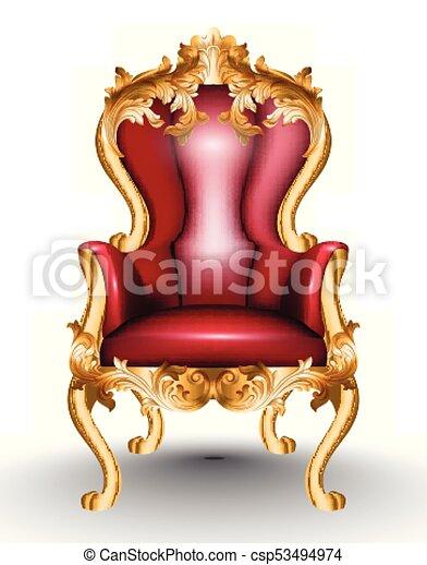 fabric., doré, conceptions, réaliste, fauteuil, isolé, arrière-plan., victorien, vecteur, orné, glamourous, baroque, meubles, blanc rouge, 3d - csp53494974