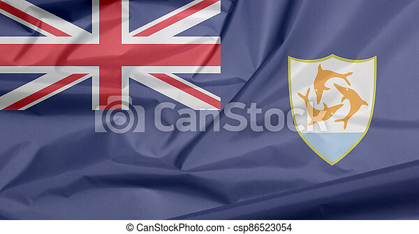 Fabric flag of Anguilla. Crease of Anguilla flag background, Blue Ensign with the British flag and the coat of arms of Anguilla in the fly. - csp86523054