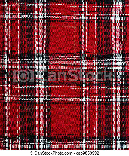 Fabric Pattern Background Texture Of Red Black Checkered Fabric