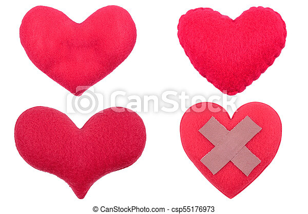 fabric red heart isolated on white background - csp55176973