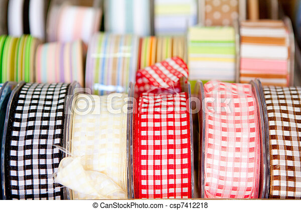 fabric tapes reels in haberdashery of vichy - csp7412218