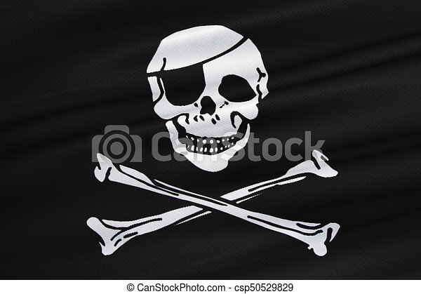 fabric texture of the pirate flag waving in wind calico clip art