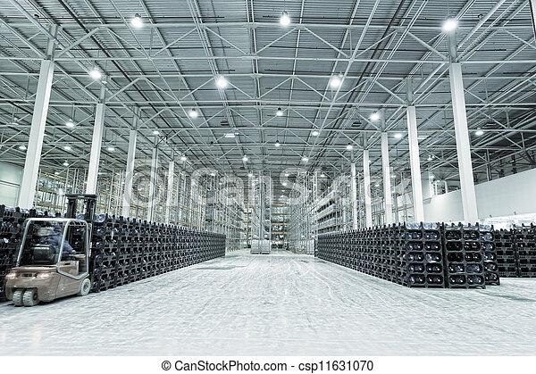 fabrication, marchandises, constitution, grand, stockage, usine, eau, fini, minéral - csp11631070