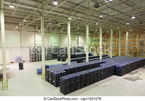 fabrication, marchandises, constitution, grand, stockage, usine, eau, fini, minéral - csp11631078
