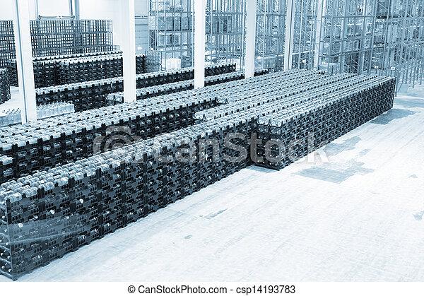 fabrication, marchandises, constitution, grand, stockage, usine, eau, fini, minéral - csp14193783