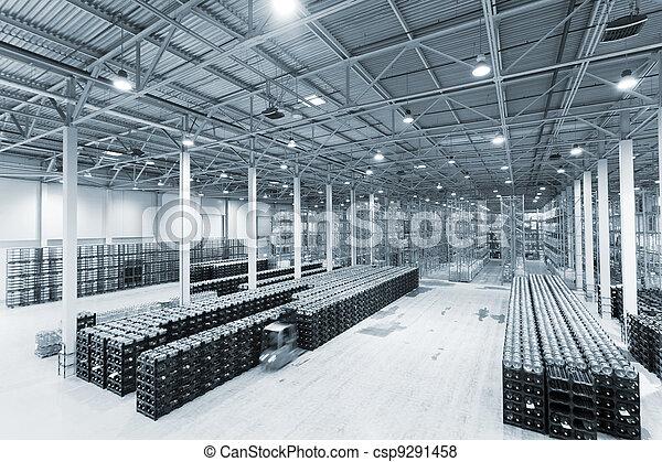 fabrication, marchandises, constitution, grand, stockage, usine, eau, fini, minéral - csp9291458