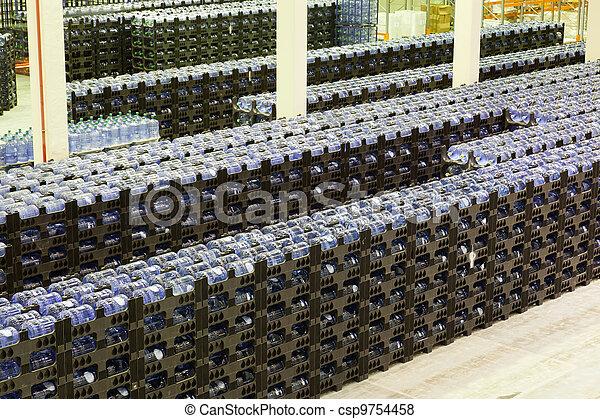 fabrication, marchandises, constitution, grand, stockage, usine, eau, fini, minéral - csp9754458