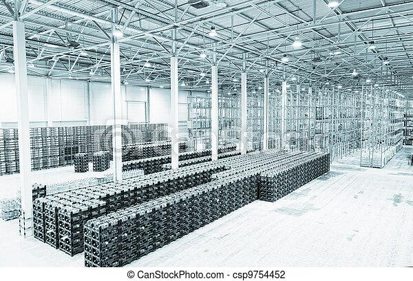 fabrication, marchandises, constitution, grand, stockage, usine, eau, fini, minéral - csp9754452
