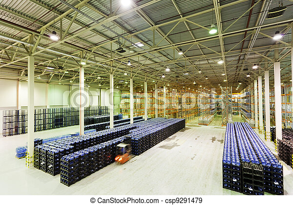 fabrication, marchandises, constitution, grand, stockage, usine, eau, fini, minéral - csp9291479