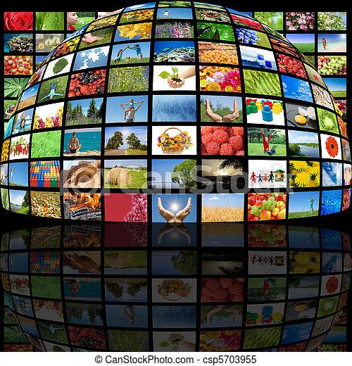 fabriekshal, televisie, concept, technologie - csp5703955