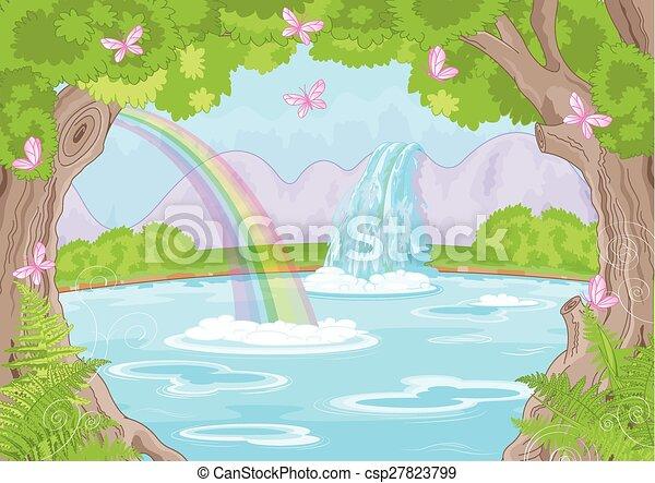 fabuleux, chute eau - csp27823799