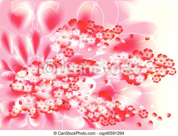 Fabulous illustration of an abstract branch of a cherry blossom on a pink background - csp40591294