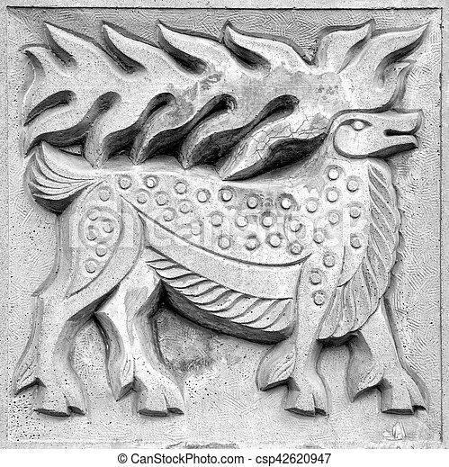 fabulous moose, bas-relief - csp42620947