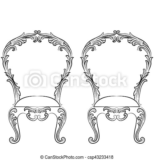 Fabulous Rich Rococo Chairs Set French Luxury Rich Carved