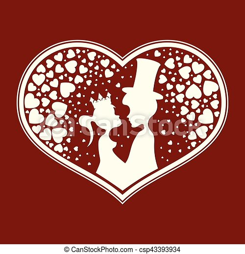 Fabulous silhouettes of the Prince and Princess - csp43393934