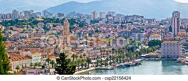 Fabulous Split waterfront aerial panorama - csp22156424