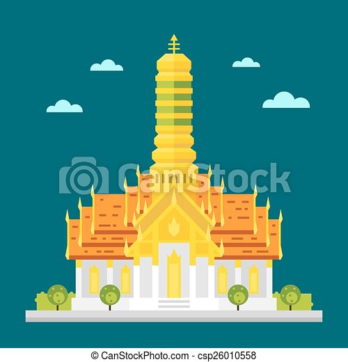 Fabulous temple of Thailand flat design - csp26010558