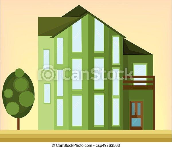 facade., maison, moderne, illustration, vecteur, vert, architecture