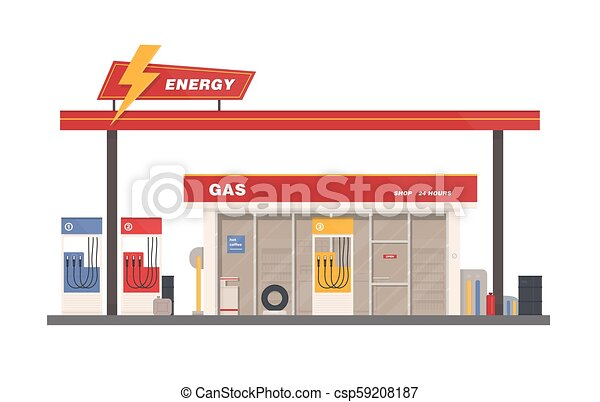 Facade of building of petrol, gas or filling station isolated on white background. Facility selling fuel or gasoline equipped with petroleum pumps. Colorful vector illustration in flat cartoon style. - csp59208187