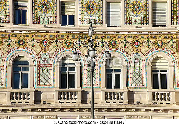 Facade of Government Palace on Piazza Unita d'Italia in Trieste, Italy - csp43913347