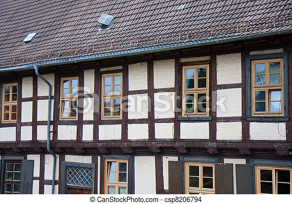 Facade of old historic town Quedlinburg, Germany - csp8206794