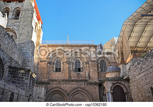 Facade of the Church of the Holy Sepulchre in Jerusalem - csp10362180