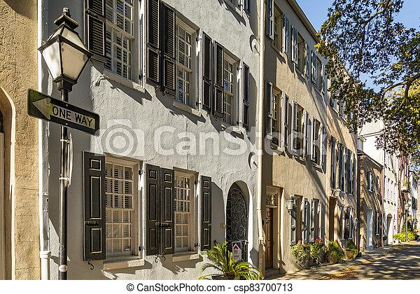 Facade of the Rainbow Row Charleston South Carolina - csp83700713