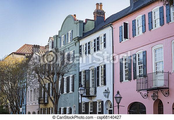 Facade of the Rainbow Row Charleston South Carolina - csp68140427