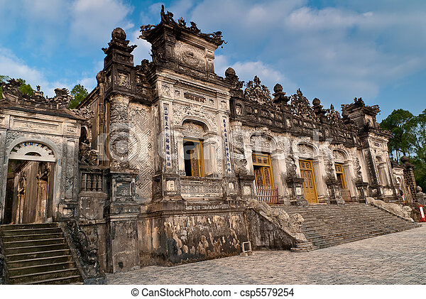 Facade of the Thien Dinh palace in Khai Dinh Tomb, Hue, Vietnam - csp5579254