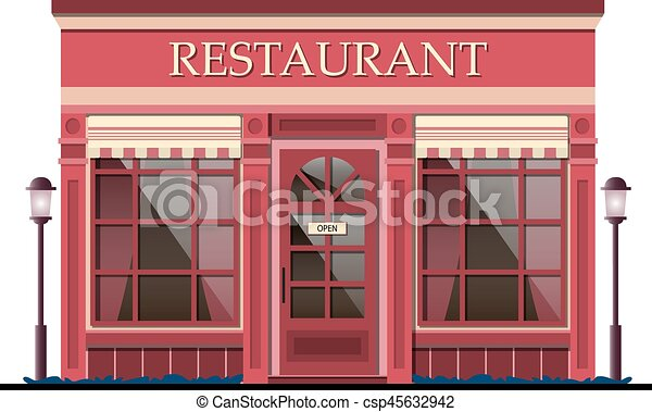facade., vecteur, illustration., restaurant - csp45632942