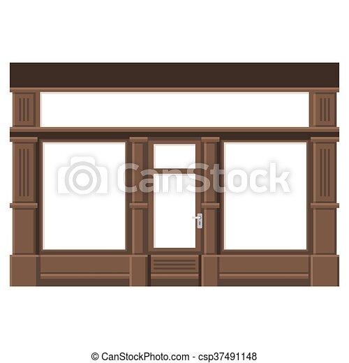 facade., windows., shopfront, 木, vector., ブランク, 白, 店 - csp37491148