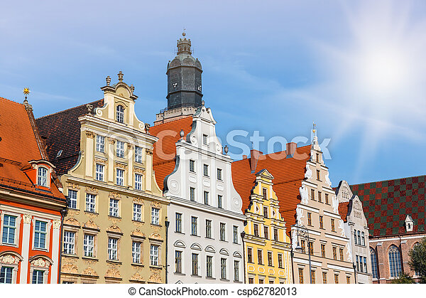 facades of historic buildings on the main square in Wroclaw, Poland - csp62782013