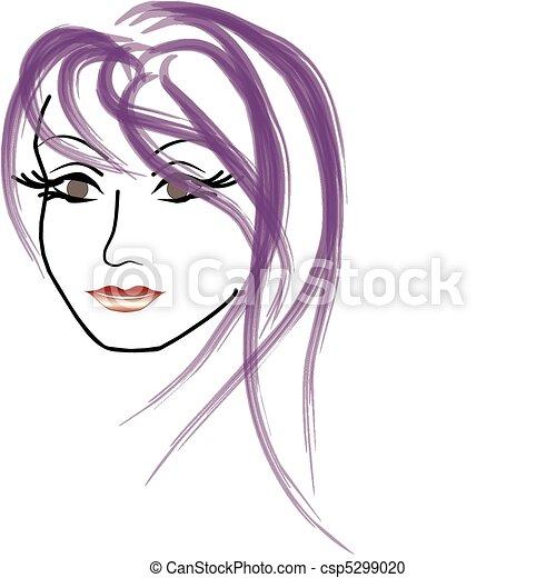 faccia donna, vettore, bello - csp5299020