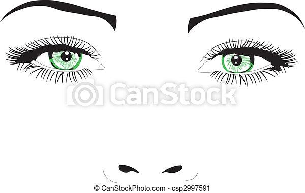 faccia, occhi, vettore, illustrazione, donna - csp2997591
