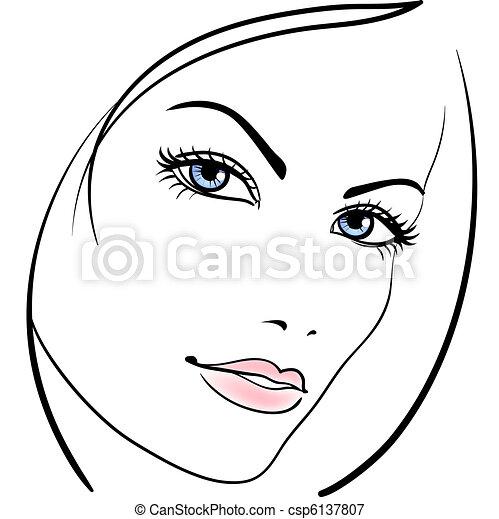 faccia, ragazza, vettore, bellezza, icona - csp6137807