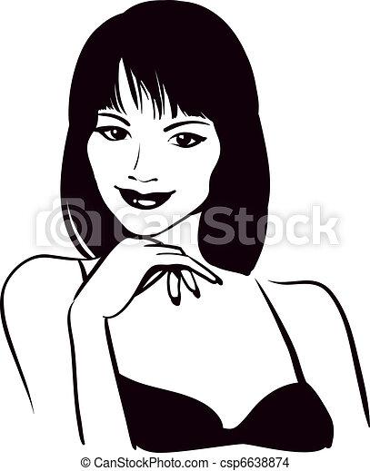 faccia, ritratto, ragazza, vettore, bellezza - csp6638874