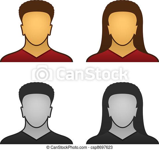 faccia, vettore, maschio, femmina, icone - csp8697623