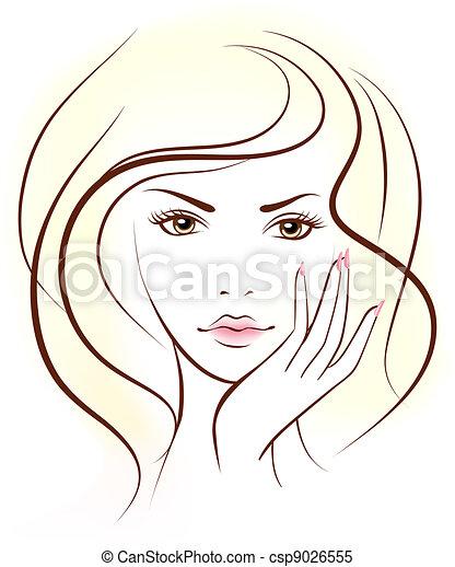 face., 妇女, 美丽 - csp9026555