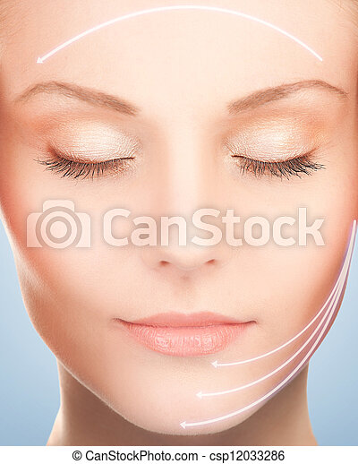 face and hands of beautiful woman - csp12033286