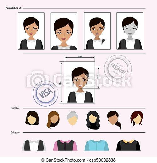 Face asian woman set - csp50032838