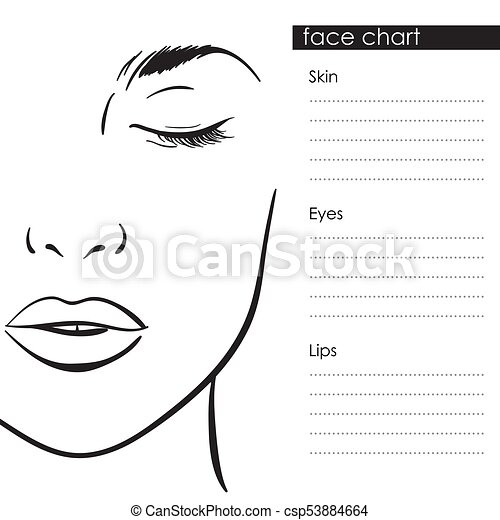 Face chart makeup template beautiful woman portrait beautiful face chart makeup template beautiful woman portrait csp53884664 maxwellsz