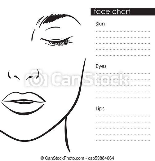 Face Chart Makeup Template Beautiful Woman Portrait Beautiful