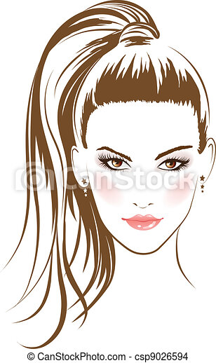face glamour girl with long hairs - csp9026594