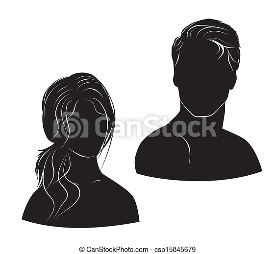 face man and woman on white background - csp15845679