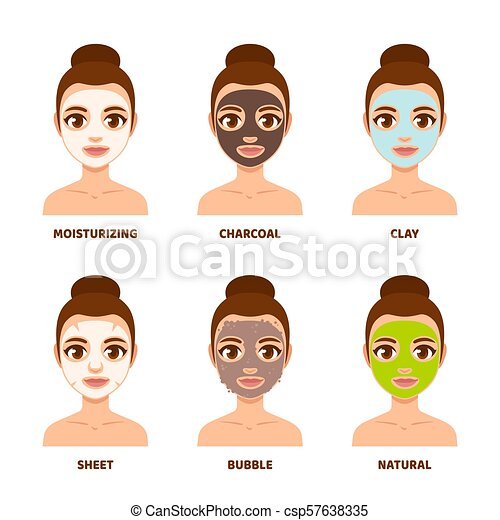 Face Mask Skin Care Set Different Types Of Facial Masks And Skin Care Illustration Set Pretty Girl Face With Various