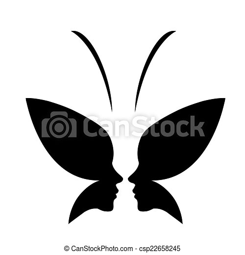 face of a lady and butterfly logo face of a lady and butterfly