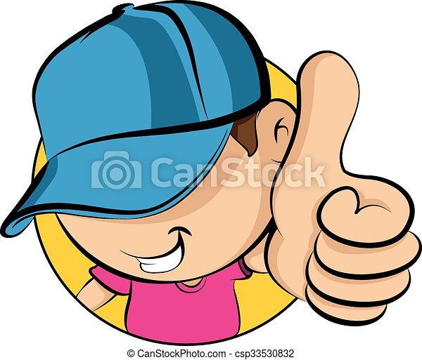 Face of a young kid wearing baseball cap showing thumbs up. a13c6416454a