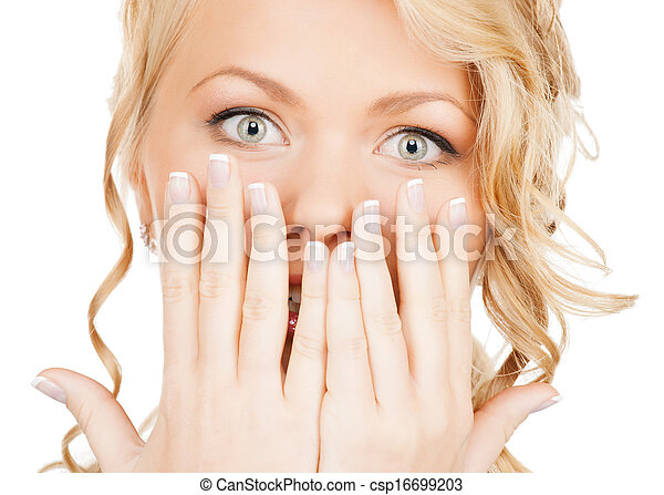 face of beautiful woman covering her mouth - csp16699203
